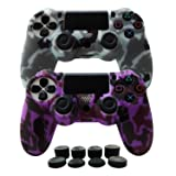 Hikfly Silicone Gel Controller Cover Skin Protector Compatible for Sony Playstation 4 PS4/PS4 Slim/PS4 Pro Controller (2X Controller Cover with 8 x FPS Pro Thumb Grip Caps)(Purple,Grey) (Color: Purple, Grey, Tamaño: PS4 Print Style)