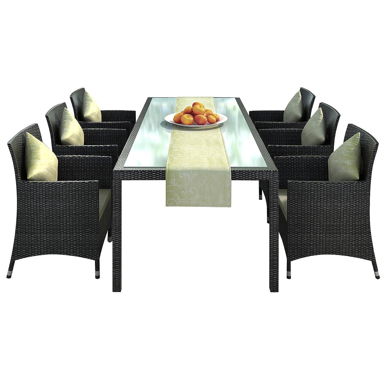 """Gartenmöbel Rattan Essgruppe Set """"Nizza"""" braun in Aluminium """"Rostfrei"""" (Tisch 2 m + Stühle + Tischläufer) jetzt kaufen"""