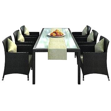 Jet-Line Nizza - Juego de mesa y sillas de comedor para exterior (aluminio inoxidable, mesa de 2 m, sillas y camino de mesa), color marrón