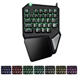 XFUNY Gaming Keypad One-Handed Keyboard 30 Keys Mechanical Feel Wide Hand Rest E-sports Dedicated 7 Color Backlight Keyboard for DOTA / OW / PUBG / Fortnite (30-Key) (Color: 30-Key)