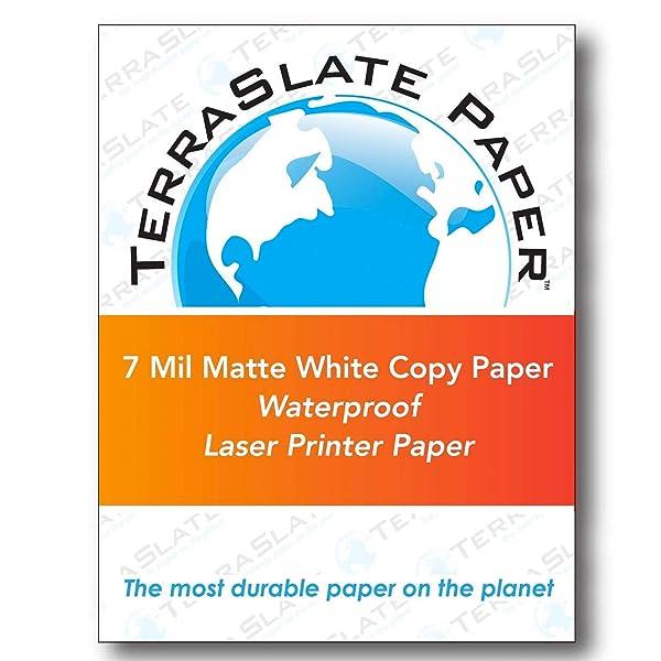 TerraSlate Copy Paper Waterproof Laser Printer, Rain Weatherproof, 7 MIL, 8.5x11-inch, 50 Sheets (Color: White, Tamaño: 7 mil/8.5 x 11/50 Sheets)