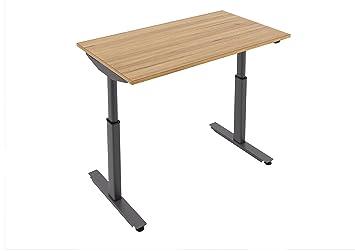 Bureau debout électronique Hauteur réglable Table Bureau avec cadre noir. Disponible en différentes Finitions. Sans Câble Plateau., Chêne, Medium (1400 x 800)