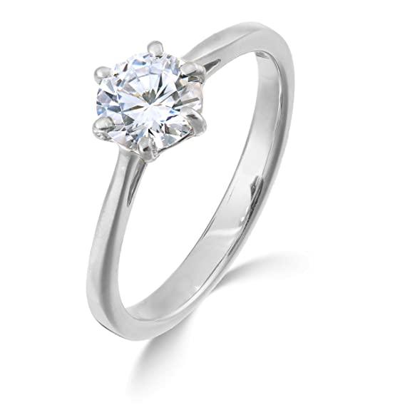 diamond solitaire ring for women 1/3 carat white gold with natural F SI diamond