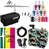 OPHIR Airbrush Paint Kit with Compressor with 12 Colour Airbrush Acrylic Paint Set, Portable Bag and Airbrush Quick Start Guide Airbrush Gun Kit for Hobby Car Plane Tank Craft (Color: Camouflage Set includes Paint)