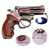 Fangfeng Windproof Lighter LED Reel Torch can be Adjusted by Flame Size Inflatable Butane Cigar Lighter (912# Copper)