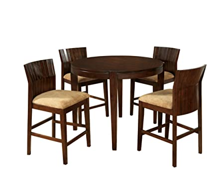 Furniture of America Wenchell 5-Piece Round Counter Height Table Set, Walnut Finish