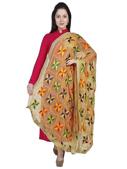 Dupatta Bazaar Woman's Beige & Multicoloured Phulkari Embroidery Chiffon Dupatta at amazon