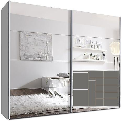 Schwebeturenschrank SWITCHBOX 270 cm Weiß mit Spiegelturen inkl. Zubehör