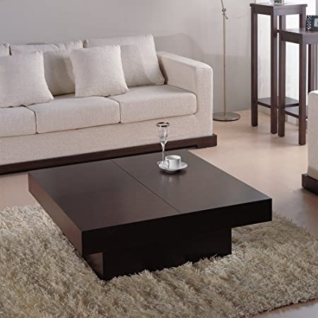 Nile Square Coffee Table - Dark Brown Oak - NILE