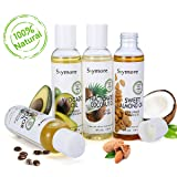 Skymore Organic Carrier Oil Gift Set, Fractionated Coconut Oil, Avocado Oil, Castor Oil & Sweet Almond Oil, Best Moisturizer for Skin & Hair, 100% Pure & Natural Massage Oil, 4oz. Each, Pack of 4 (Color: Transparent, Tamaño: Ounce)