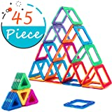 COSSY Magnet Tiles Building Block 45 PCs, Magnetic Stick and Stack Set for girls and boys, Perfect STEM Educational Toys for Kids Children, Multicolou