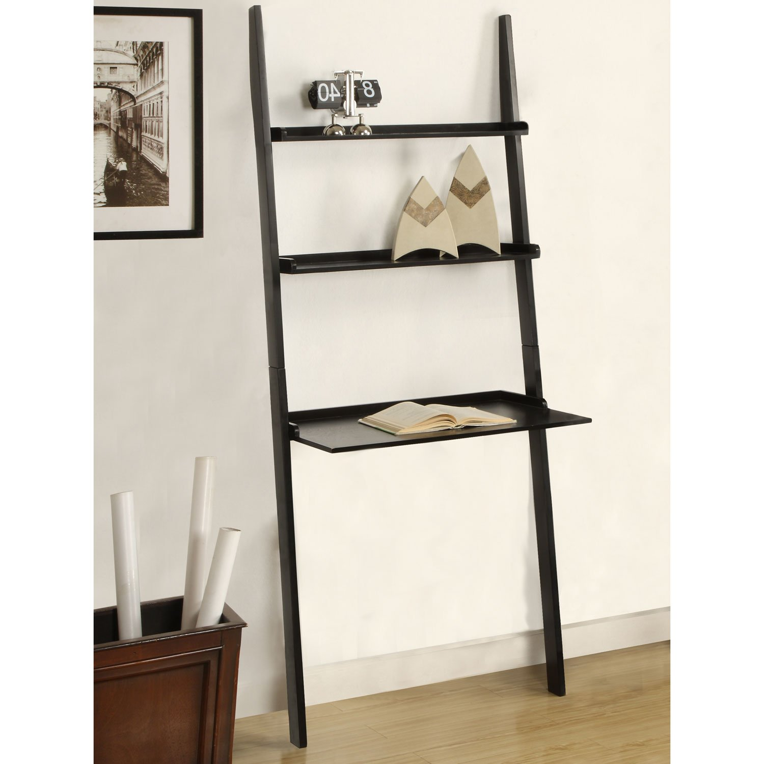 Style Leaning Ladder Desk with Book Shelves Laptop Computer Leaning