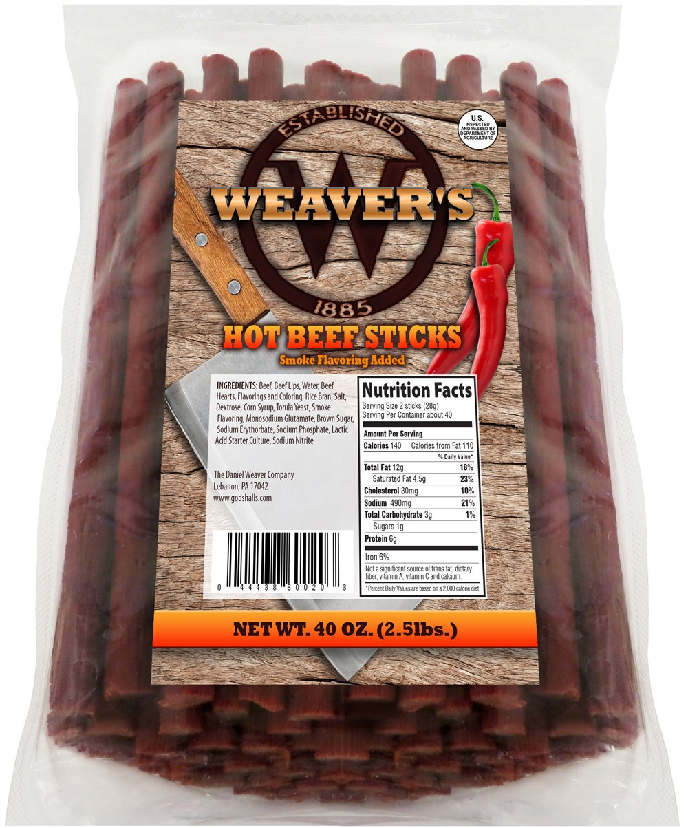 Weaver S Hot Beef Sticks 80 Hot And Spicy 6 5 Quot Beef