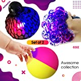 Set of 2 Led Anti-Stress + Temperature Color Change Ball 4 Boys Girls Kids Toddlers Adults - Squishy Light up Relief Toy - Sensory Fidget Emoji Ball - Slime Theme Party Favors - Hand Exercise Therapy (Tamaño: Led Anti Stress Ball)