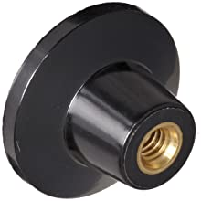 "DimcoGray Black Phenolic Push-Pull Knob Female, Brass Insert: 1/4-20' Thread x 7/16"" Depth, 1-3/8"" Diameter x 7/8"" Height x 5/8"" Hub Dia x 5/8 Hub Length"