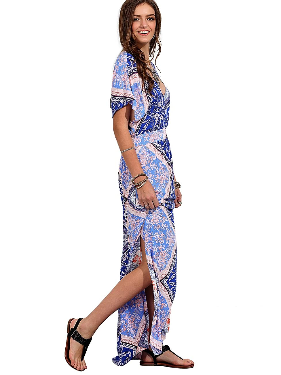 Milumia Women's Boho Split Tie-Waist Vintage Print Maxi Dress 4