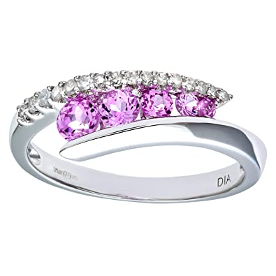 Naava 9ct White Gold Diamond & Creative Pink Topaz Crossover Ring