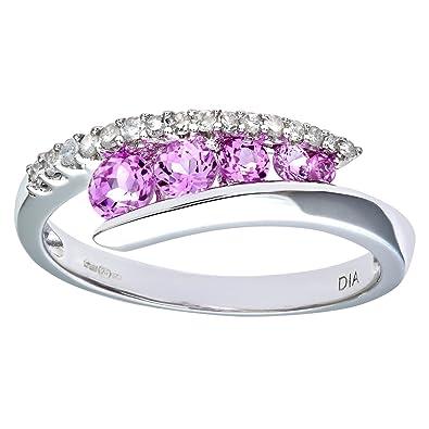 Naava 9ct White Gold Diamond & Creative Pink Topaz Crossover Ring