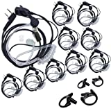 Lsgoodcare 2 Pin Covert Acoustic Tube PTT MIC Earpiece Headset Compatible for Kenwood Puxing Wouxun Baofeng Two Way Radio Walkie Talkie + Replacement Insert Earmold Earbud Black Medium Large (10Pack) (Color: 10Pack)