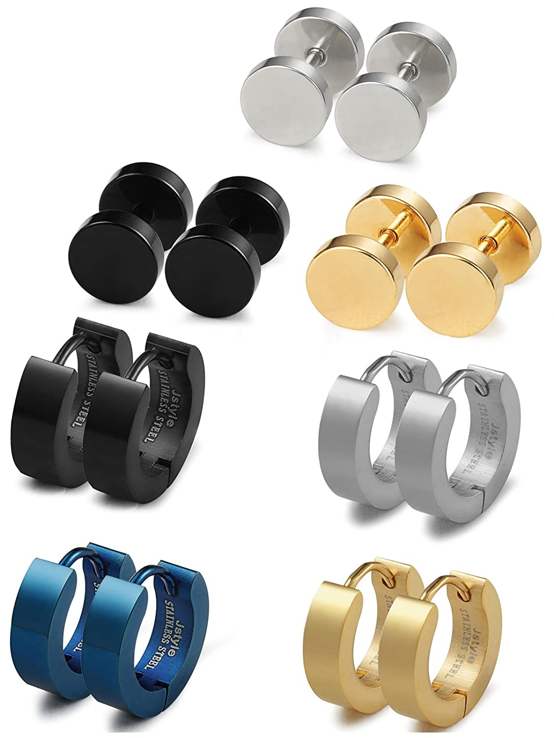Jstyle Stainless Steel Mens Womens Stud Earrings Hoop Earrings for Men Piercing 7 Pairs