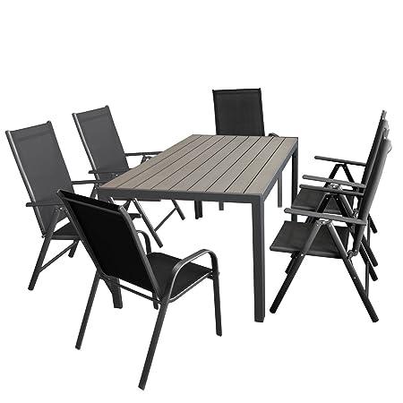 Gartenmöbel-Set Aluminiumtisch mit grauer Polywood-Tischplatte, 150x90cm + 4x verstellbare Alu Hochlehner mit Textilenbespannung + 2x Stapelstuhl mit Textilenbespannung