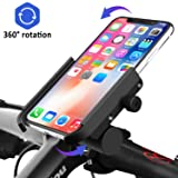 Venoro Bike Phone Mount with Charger [Detachable], Aluminum Alloy Bicycle Phone Holder Waterproof 360°Rotation Adjustable for iPhone 11 Xs Max XR 8, Samsung Galaxy A10E S10 S9 Plus S8 S7 Edge (Black) (Color: Black)