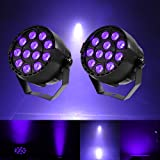 Gledto 2 Pack 36W 12 LEDs DJ Black Light UV LED Bar Wall Washer Light for Stage KTV Party Pub Club Disco Show Concert Celebration,Black