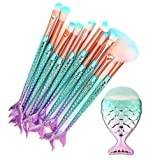 11pcs Makeup Brushes Set 3D Mermaid Makeup Brush Cosmetic Brushes Eyeshadow Eyeliner Blush Concealer Professional (Color: Makeup Brushes Set)