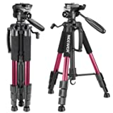 Neewer Portable 56 inches/142 centimeters Aluminum Camera Tripod with 3-Way Swivel Pan Head,Bag for DSLR Camera,DV Video Camcorder Load up to 8.8 pounds/4 kilograms Red(SAB234) (Color: Red, Tamaño: 20.6 x 5 x 4.7 inches)