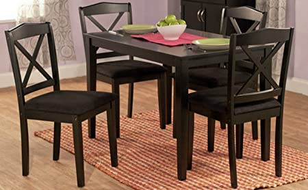 Contemporary 5 Piece Dining Set - The Upholstered Seats and Table Are Made of Wood - Perfect Accent Furniture for Your Dining Room, Patio, or Any Area in Your Home - Satisfaction Guaranteed! (Black)