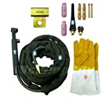 WeldingCity WP-26FV-25R Complete Ready-to-Go Package Flex-Head Gas-Valve 25' 200Amp Air-Cooled TIG Welding Torch (Tamaño: Flex/Gas Valve Head)