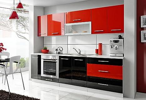 Komplette Kuche Petra 260 cm verschiedene Farbkombinationen Hochglanz NEU (rot / schwarz)