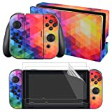 eXtremeRate Full Set Faceplate Skin Decals Stickers and 2 Pcs Screen Protector for Nintendo Switch/NS Console & Joy-con Controller & Dock Protection Kit - Colorful (Color: Colorful.)