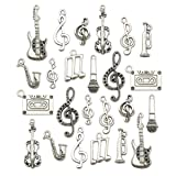 Music Charm Collection-100g Craft Supplies Instrument Music Notes Charms Pendants for Crafting, Jewelry Findings Making Accessory For DIY Necklace Bracelet Earrings (Color: Music Charm Collection)