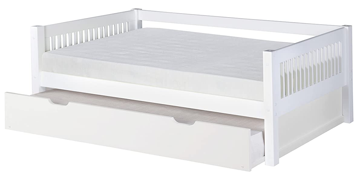 Camaflexi Mission Style Solid Wood Daybed with Trundle, Twin, White