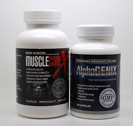Gym & Muscle Dietary Formeln AlphaGENIX Testosteron Booster 60 Kapseln & Muscle Core X 90 Kapseln