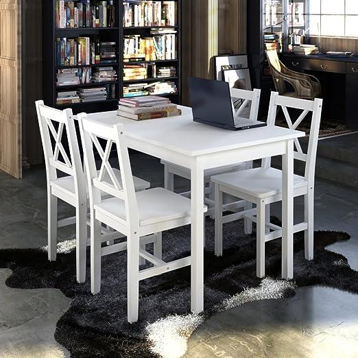 vidaXL Holztisch mit 4 Stuhle Möbel Set Weiß Tisch Esstischset
