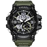 KXAITO Men's Sports Outdoor Waterproof Military Watch Date Multi Function Tactics LED Alarm Stopwatch (05_Green2)