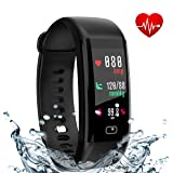 Fitness Tracker, Smart Band with Heart Rate and Blood Pressure Monitor, Activity Tracker,IP67 Waterproof, Pedometer, Sleep Monitor, OLED, Bluetooth 4.0, Compatible with Android and IOS (black 1)
