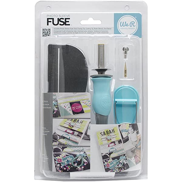 American Crafts Photo Sleeve Fuse Starter Kit by We R Memory Keepers | Includes tool, fusing tip, cutting tip, ruler stencil, and tool stand (Color: Original Version)
