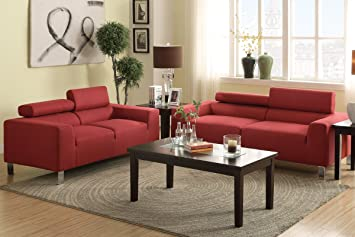 Sofa and Loveseat Set in Carmine Colored Fabric
