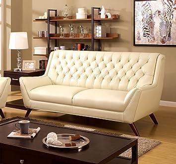 Furniture of America Aster Retro Sofa, White