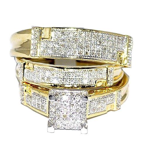 Yellow-Gold-Trio-Wedding-Set-Mens-Women-Rings-Real-0-5ct-Diamonds-Princess-Pave