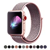 For Apple Watch Band, Yunsea New Nylon Sport Loop, with Hook and Loop Fastener, Adjustable Closure Wrist Strap, Replacement Band for iwatch, 42mm, Pink Sand (Color: Loop-pinksand, Tamaño: 42 mm)