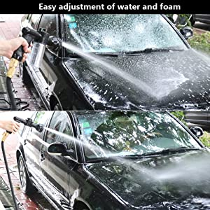 CINOTON Foam Cannon Adjustable, Foam Sprayer Car Wash, Cannon Garden Hose with 8 Way Spray Pattern Adjustable Snow Foam Lance 100 cc Bottle