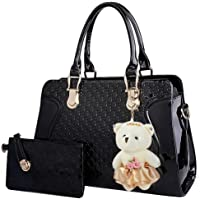 Coofit Leather Handbag Womens Messenger Bag + Small Bag + Bear Key Chain (Black)