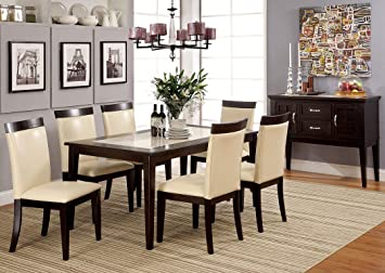 7 Pc. Evious I in a Contemporary Style Design Espresso Wood Finish With a Faux Marble Table Top Dining Set