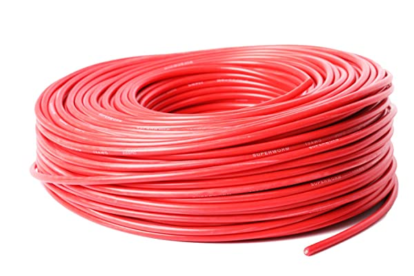 SUPERWORM Super Flexible Ultra Efficient Copper Wire by ACER Racing (10 AWG 100 Meters RED) (Tamaño: 10 AWG 100 Meters RED)