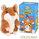 Ayeboovi Talking Hamster Repeats What You Say Mimicry Pet Toy Plush Buddy Mouse for Children Gift (Color: Brown, Tamaño: one-size)