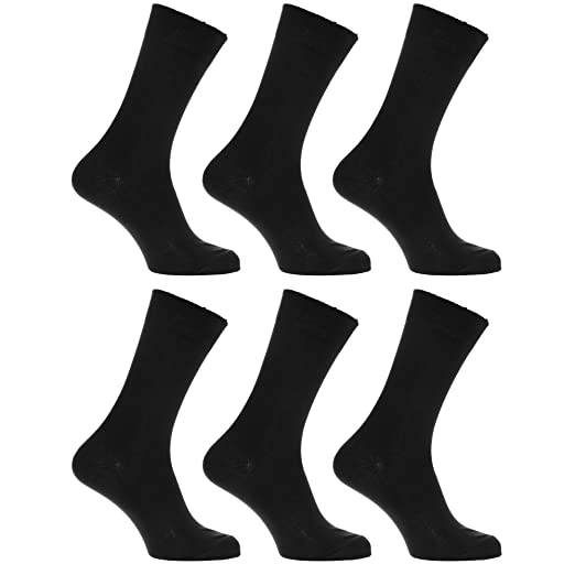 Mens 100% Cotton Plain Work/Casual Socks (Pack Of 6) (US 7-12) (Black)